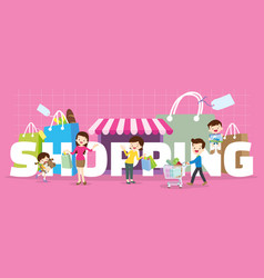 Family shopping concept vector