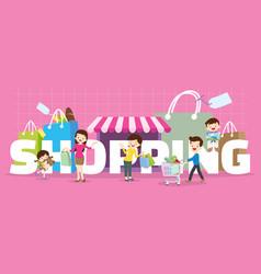 Family shopping concept vector