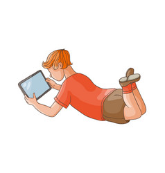 flat teen boy using tablet pc isolated vector image