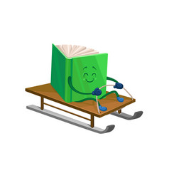 funny humanized green book character riding on a vector image vector image