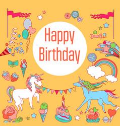 Happy birthday holiday card with rainbow ice vector