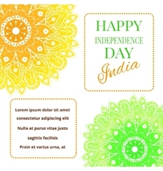 Happy India Independence Day postcard with mandala vector image vector image