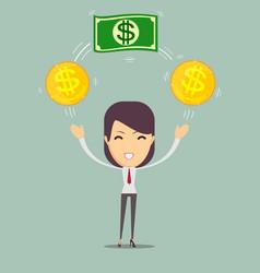 happy woman enjoying of money vector image vector image