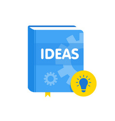 Ideas book with lightbulb flat icon online vector