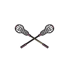 Lacrosse stick woodcut vector