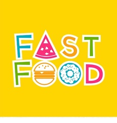 logo fast food with donut hamburger and pizza vector image