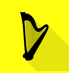 Musical instrument harp sign black icon with flat vector