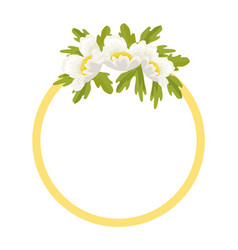 Round frame decorated by white anemone flowers vector