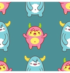 Seamless pattern with cute yeti vector image