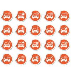 Set of 20 cars wit signs orange label vector