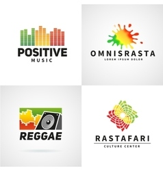 Set of positive africa ephiopia flag logo design vector image vector image