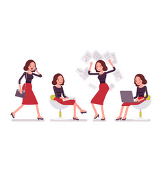 set of young secretary in office scenes vector image