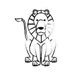 Sketch lion wild life sitting icon vector