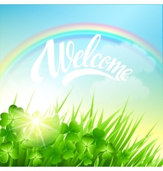 Spring landscape with clover and rainbow vector image vector image