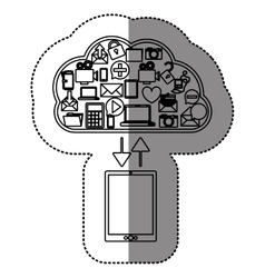 Sticker with cloud service with apps set and vector