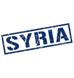 Syria blue square stamp vector
