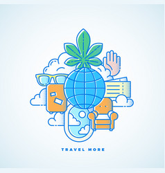 Travel more line style vacation vector