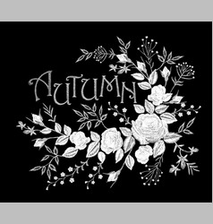 Vintage autumn lettering flower white lace rose vector