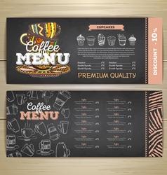 Vintage chalk drawing coffee menu design vector