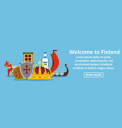 welcome to finland banner horizontal concept vector image
