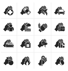 Black insurance and risk icons vector