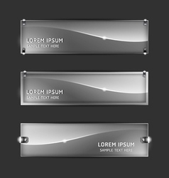 Collection abstract glass banner design horizontal vector