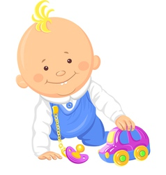Cute smiling baby boy playing with a toy car vector