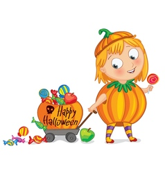 Funny little girl dressed as a pumpkin vector