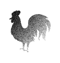 Rooster black dotwork vector
