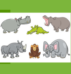 Wild animals cartoon set vector