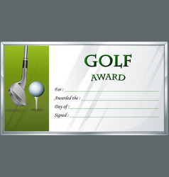 Golf award template with golf ball in background vector