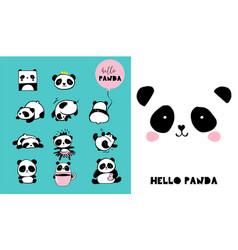 cute panda hand drawn elements vector image