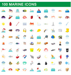 100 marine icons set cartoon style vector