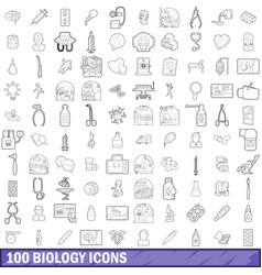 100 biology icons set outline style vector