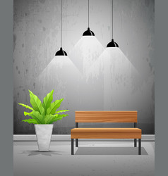 Tropical tree with wooden chair and lamp vector