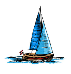 sailboat a sea yacht floats vector image