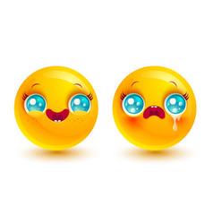 funny and sad emoji vector image
