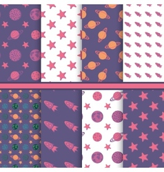 Set of seamless patterns with space planets stars vector