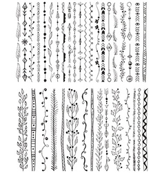 Hand drawn line border set vector