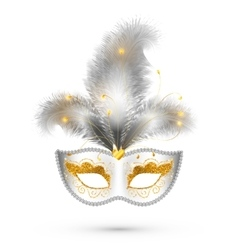 White carnival mask with golden glitter decoration vector