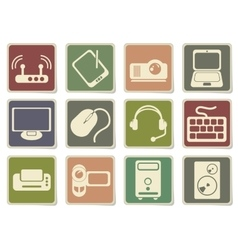 Computer equipment simple icons vector