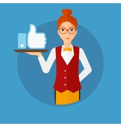 Waitress with like button vector image