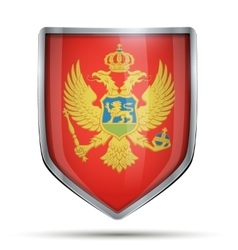 Shield with flag montenegro vector