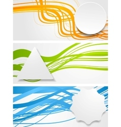 Abstract wavy banners with geometric labels vector image vector image