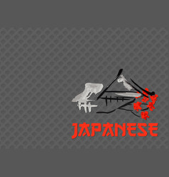 Asian landscape building symbol and sakura vector