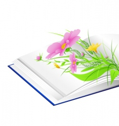 book and flowers background vector image vector image