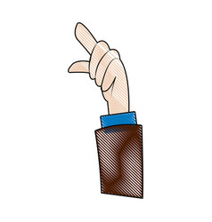 cartoon hand business man pointing up finger vector image