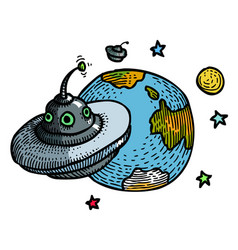 Cartoon image of flying saucer and planet vector