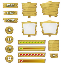 Cartoon wood elements for ui game vector