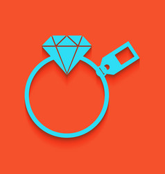 Diamond sign with tag whitish icon on vector